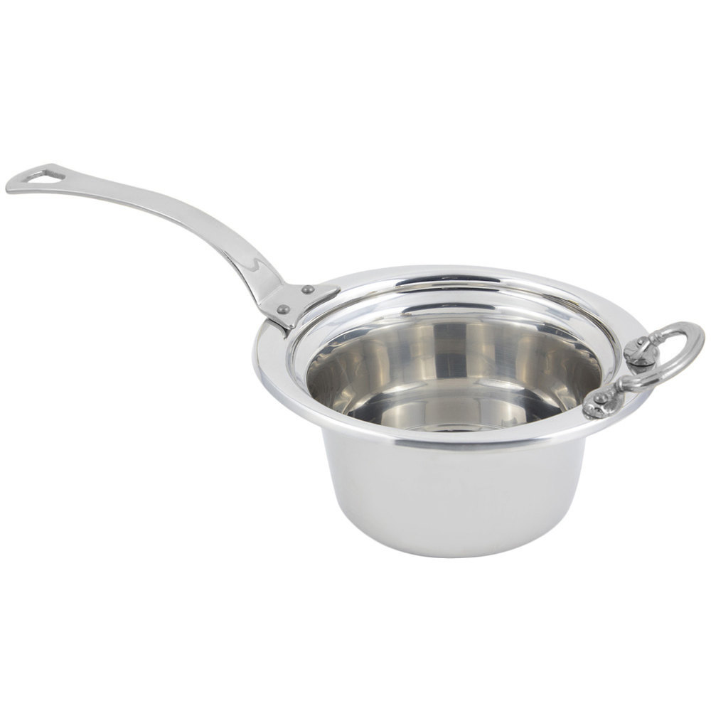 "Bon Chef 5250HLSS 10"" x 9"" x 5"" Stainless Steel 2 Qt. Plain Design Casserole Food Pan with Long Stainless Steel Handle"