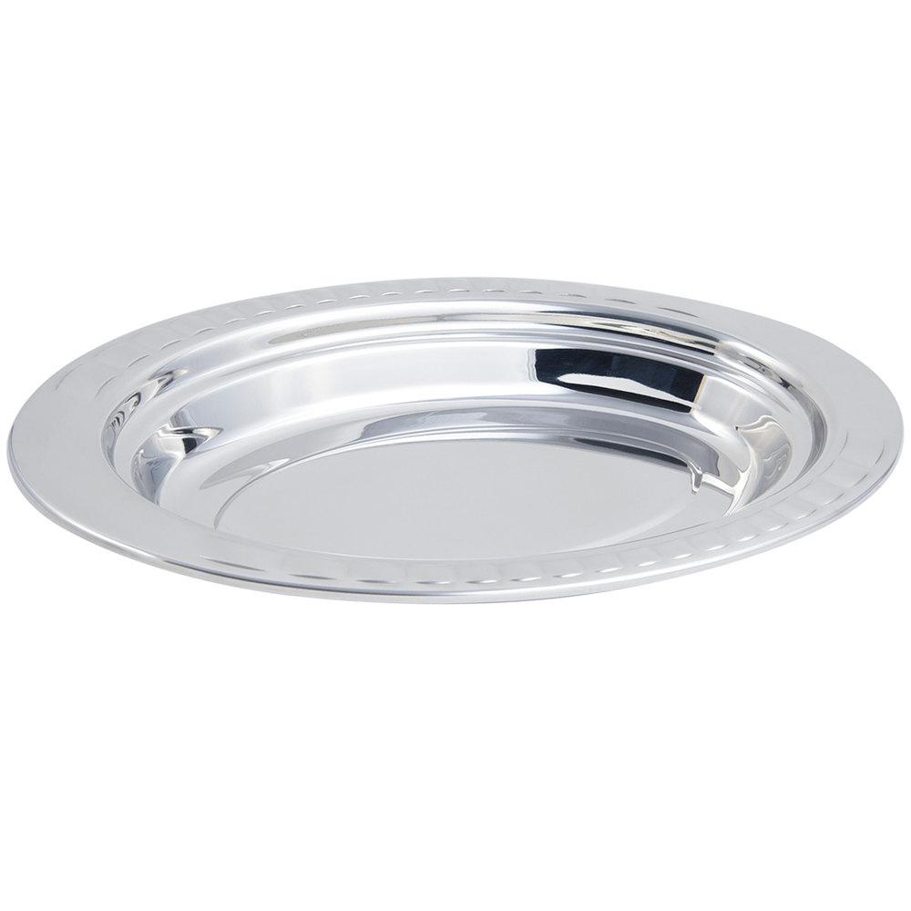 "Bon Chef 5688 19"" x 11"" x 2"" Stainless Steel 2.5 Qt. Arches Design Oval Food Pan"