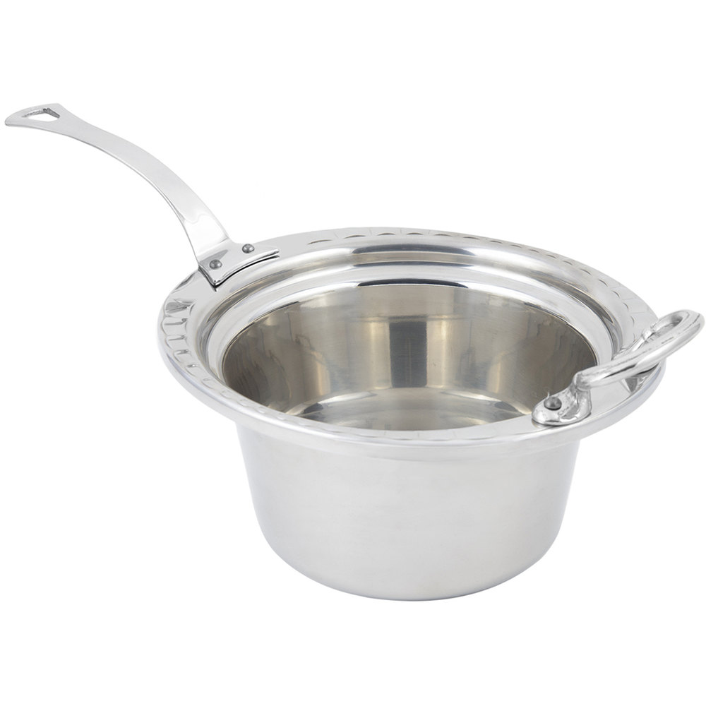 "Bon Chef 5650HLSS 10"" x 9"" x 5"" Stainless Steel 2 Qt. Arches Design Casserole Food Pan with Long Stainless Steel Handle"
