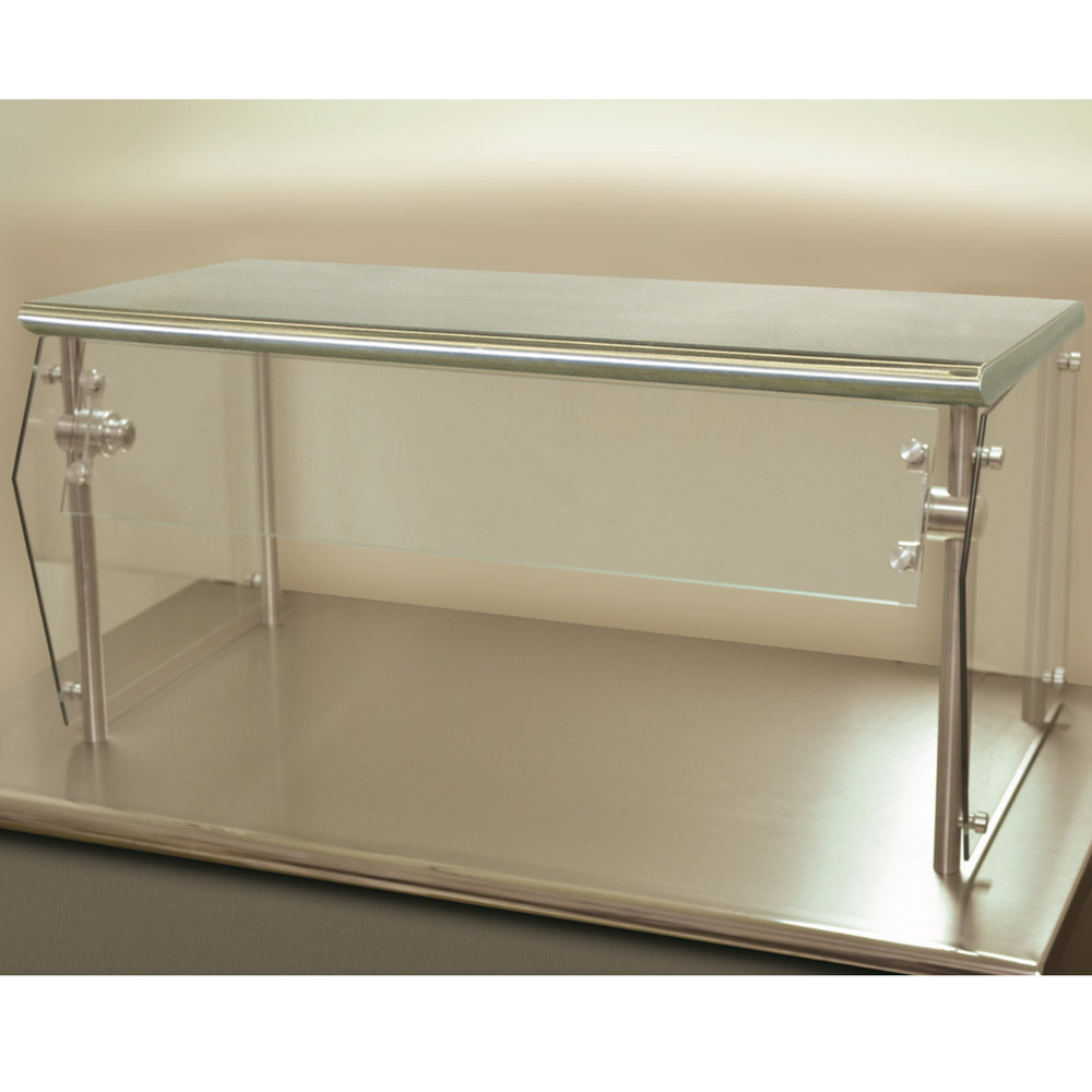 "Advance Tabco Sleek Shield NSG-15-108 Single Tier Self Service Food Shield with Stainless Steel Shelf - 15"" x 108"" x 18"""