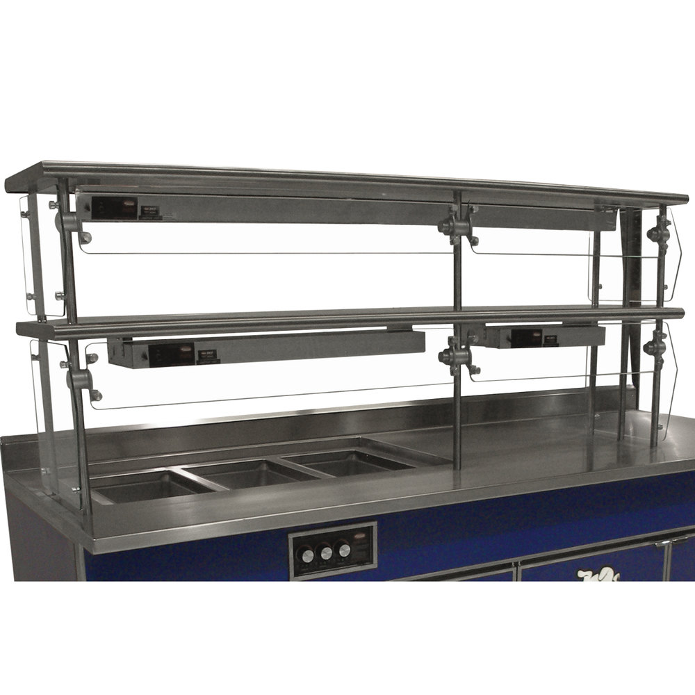 "Advance Tabco Sleek Shields NDSG-15-84 Double Tier Self Service Food Shield with Stainless Steel Shelf - 15"" x 84"" x 26"""