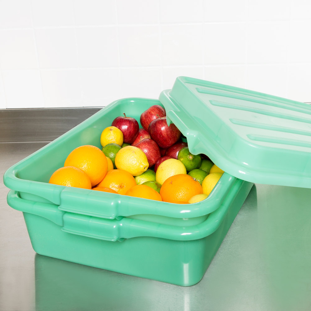 "Vollrath 1551-C19 Green 15"" x 20"" Polypropylene Food Storage Combo Set with Snap-On Lid"