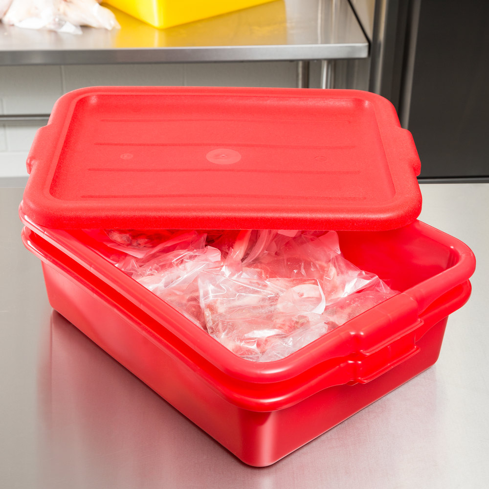 "Vollrath 1501-C02 Red Polypropylene 20"" x 15"" x 5"" Food Storage Combo Set with Standard Lid"