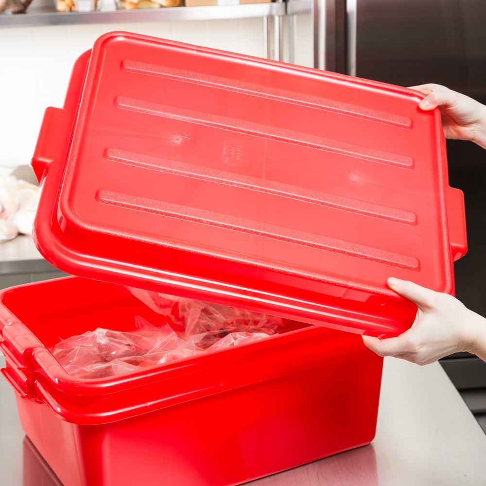"Vollrath 1500-C02 Traex Color-Mate Red 20"" x 15"" x 2 1/2"" Snap-On Food Storage Box Lid"