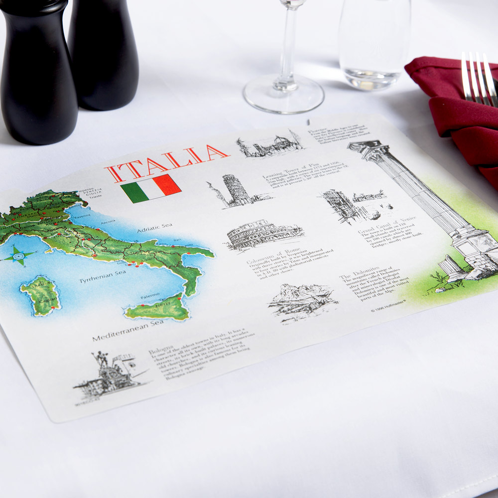 "Hoffmaster 310643 10"" x 14"" Italia Paper Placemat - 1000 / Case"
