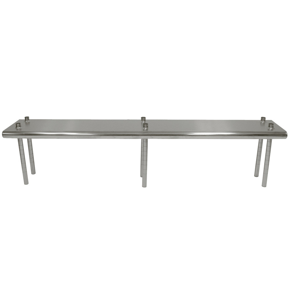 "Advance Tabco TS-12-144R 12"" x 144"" Table Rear Mounted Single Deck Stainless Steel Shelving Unit - Adjustable with 1"" Rear Turn-Up"