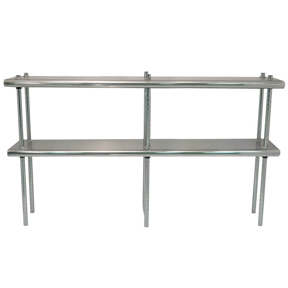 "Advance Tabco DS-12-132R 12"" x 132"" Table Rear Mounted Double Deck Stainless Steel Shelving Unit - Adjustable with 1"" Rear Turn-Up"