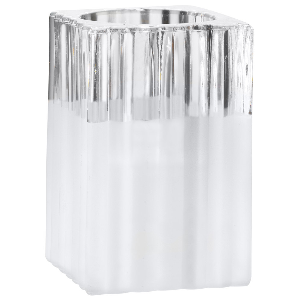 "Sterno Products 80188 4 1/2"" Ribbed Frost Glass Square Liquid Candle Holder"