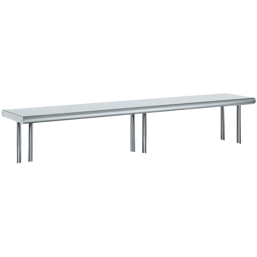 "Advance Tabco OTS-15-144R 15"" x 144"" Table Rear Mounted Single Deck Stainless Steel Shelving Unit with 1"" Rear Turn-Up"