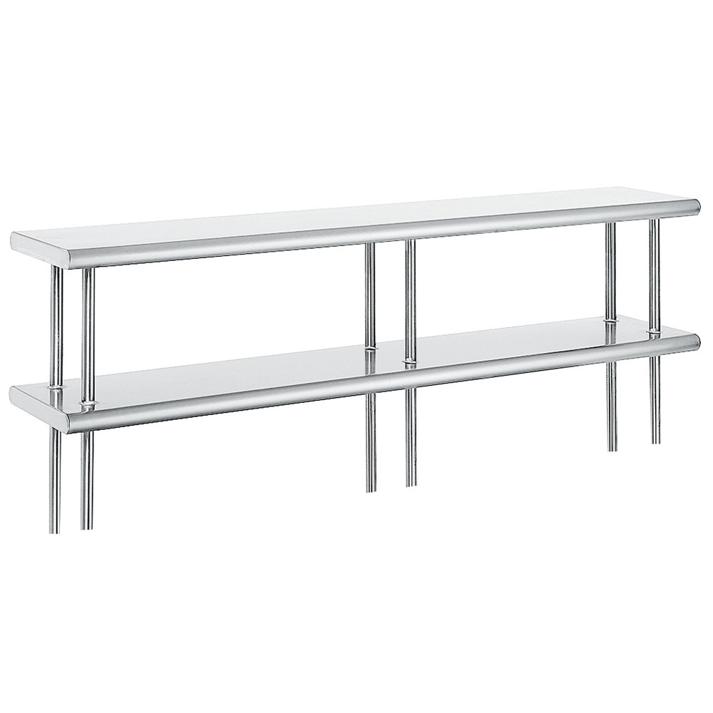 "Advance Tabco ODS-12-144R 12"" x 144"" Table Rear Mounted Double Deck Stainless Steel Shelving Unit with 1"" Rear Turn-Up"