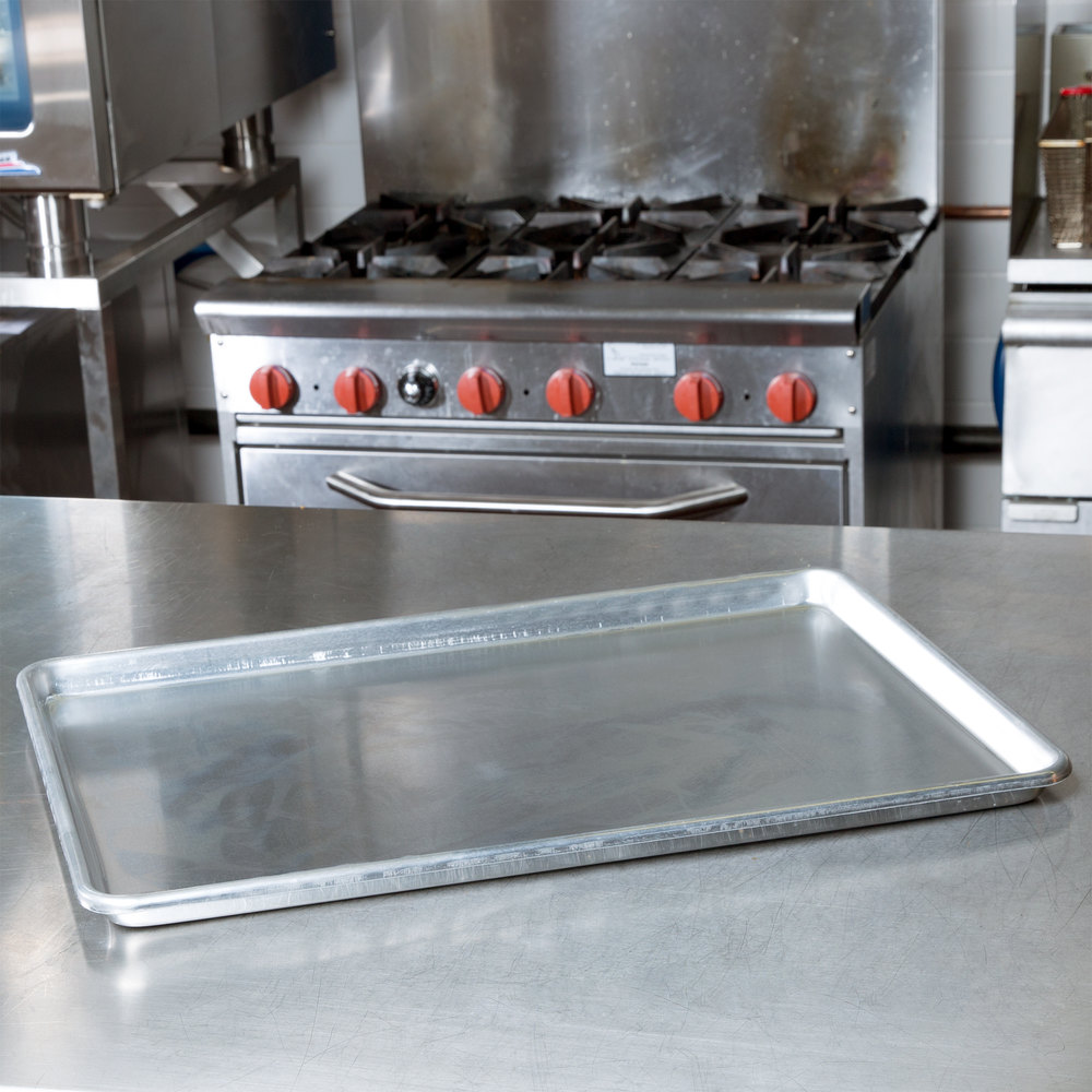 "Full Size 12 Gauge 18"" x 26"" Sanitary Open Bead Rim Heavy Duty Aluminum Bun / Sheet Pan"