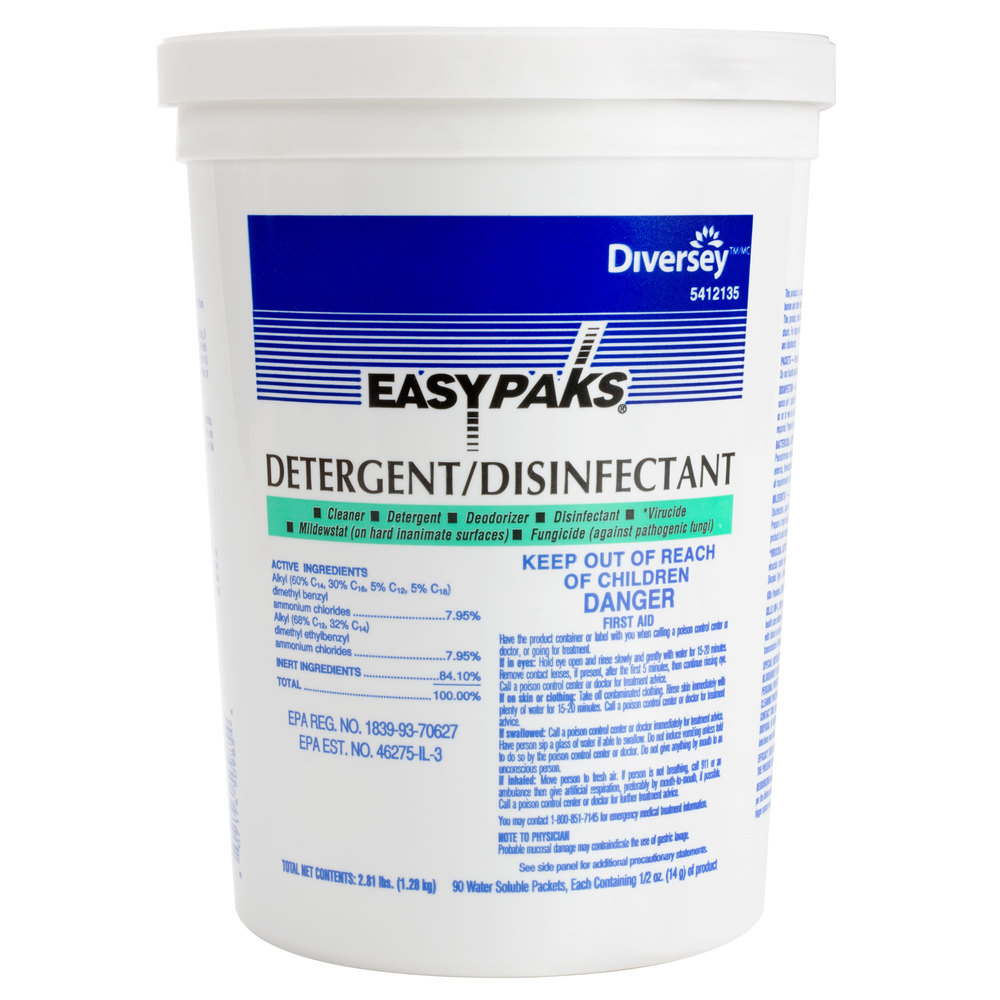 Diversey 5412135 Easy Paks 0.5 oz. Detergent / Disinfectant Packet - 180 / Case