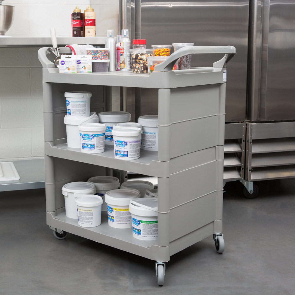 Rubbermaid FG342100BEIG Platinum Bussing Cart with End Panels