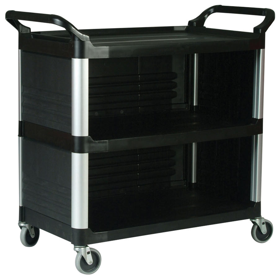 rubbermaid fg409300bla xtra black 300 lb utility cart with enclosed end panels on three sides