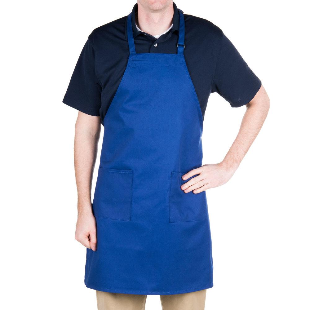 Blue apron application - Royal Blue 2 Pocket Bib Apron With Adjustable D Ring Neck Strap 28 X 32
