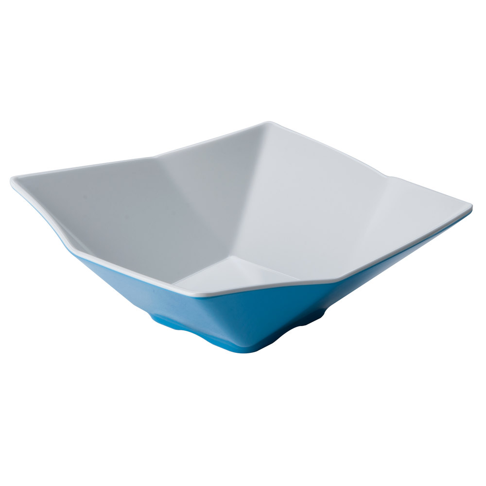 "Tablecraft Frostone MB104BLW 10"" Square Angled 2.8 Qt. Blue and White Melamine Bowl"