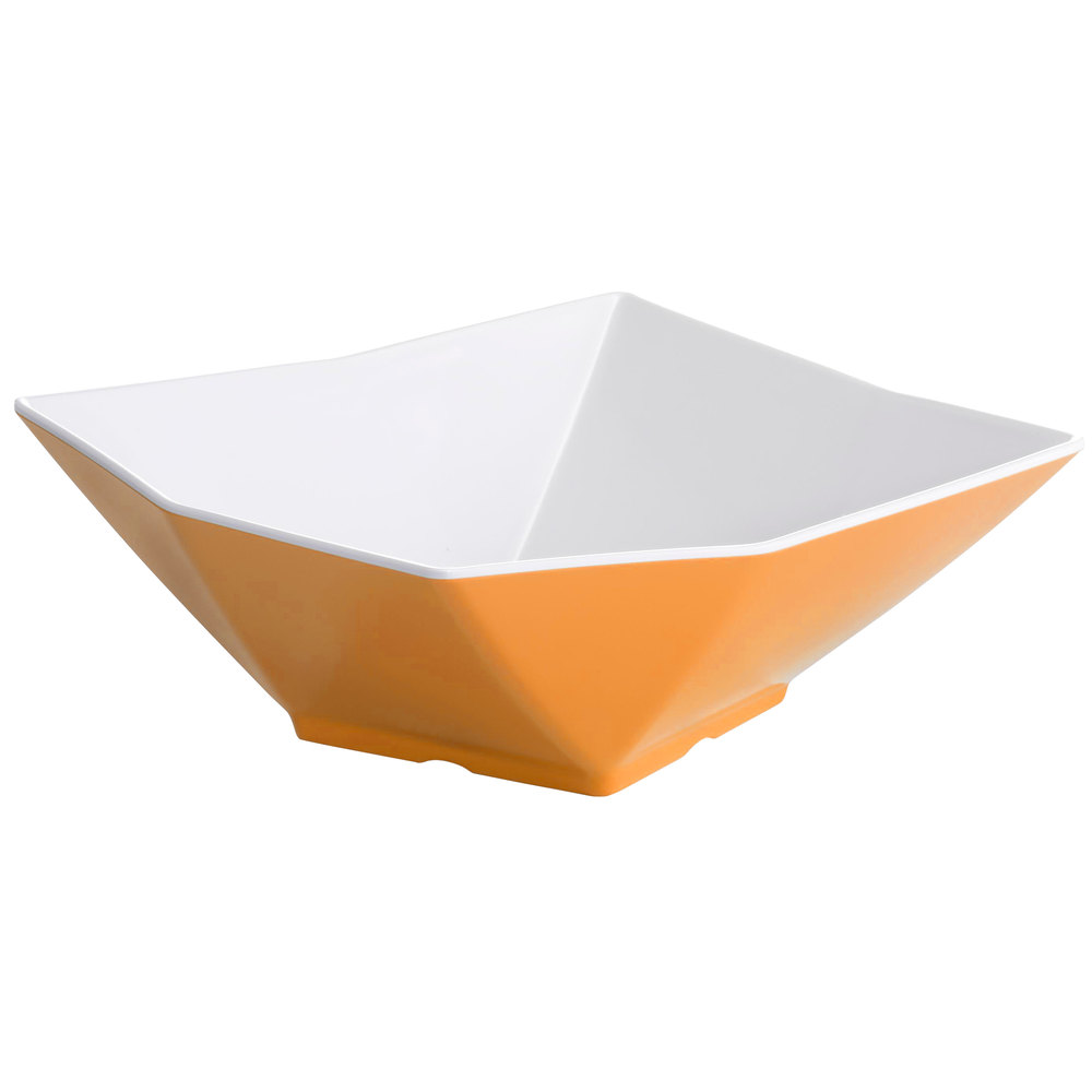 "Tablecraft Frostone MB134XW 13"" Square Angled 5.6 Qt. Orange and White Melamine Bowl"