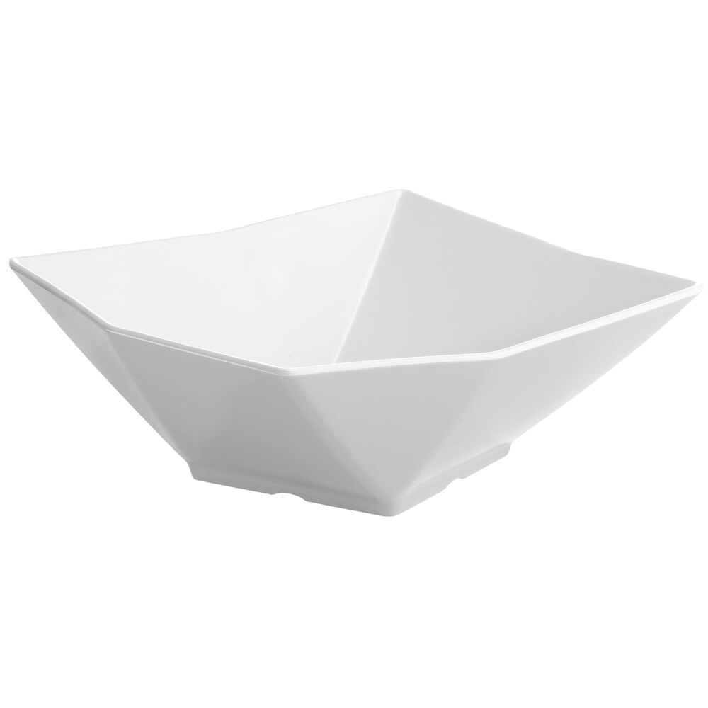 "Tablecraft Frostone MB93 9"" Square Angled 1.5 Qt. White Melamine Bowl"