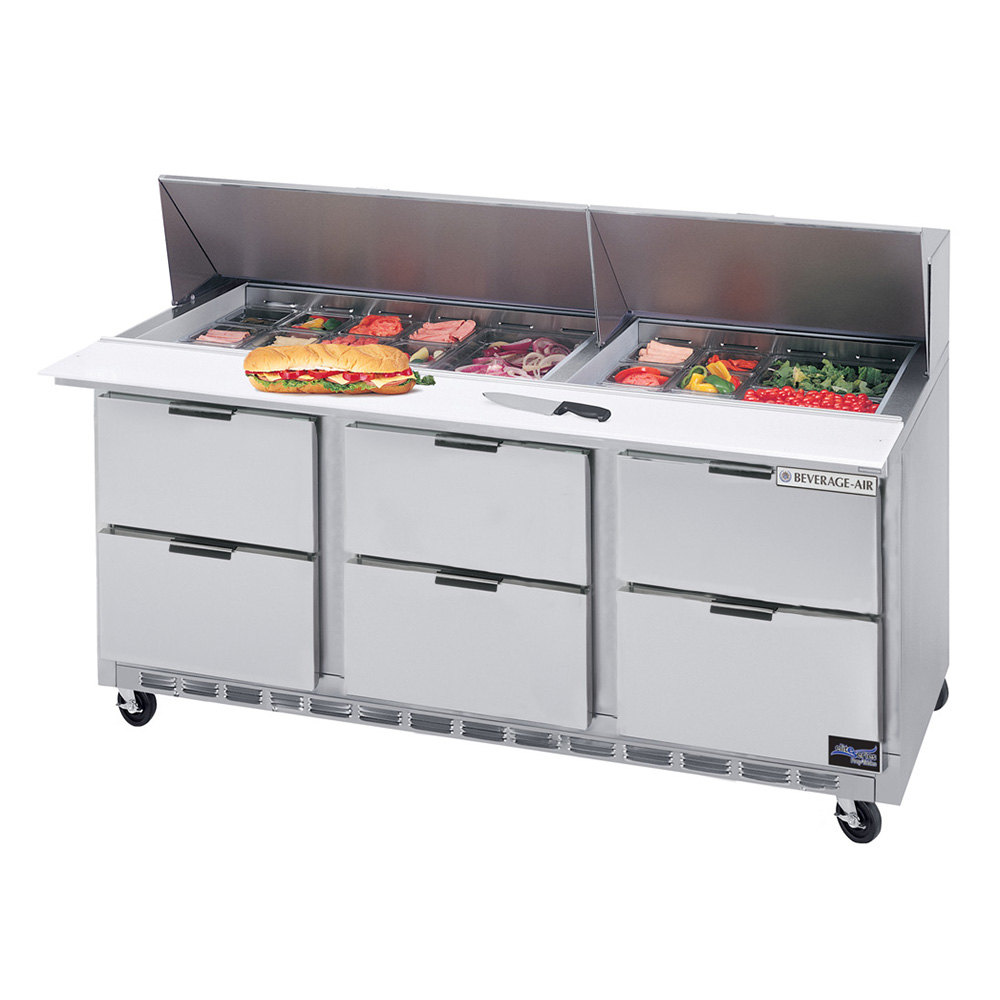 "Beverage Air SPED72-18M-6 72"" 6 Drawer Mega Top Refrigerated Sandwich Prep Table"