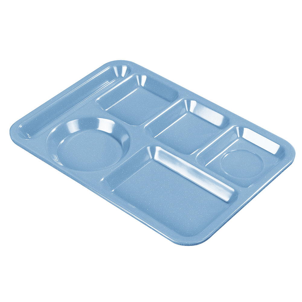 "Carlisle 4398192 10"" x 14"" Sandshades Heavy Weight Melamine Left Hand 6 Compartment Tray"