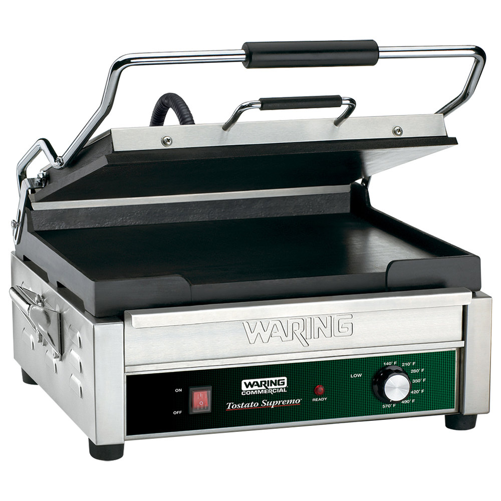 "Waring WFG275 14"" x 14"" Tostato Supremo Smooth Top & Bottom Sandwich Toasting Grill"