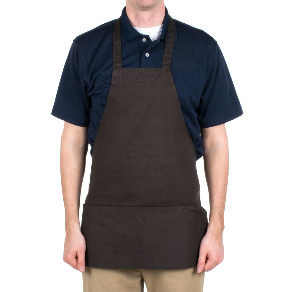 "Choice Brown Full Length Bib Apron with Pockets- 25""L x 28""W"