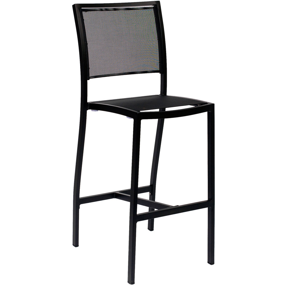 BFM Seating PH102BBLBL Delray Outdoor / Indoor Black Aluminum Bar Height Side Chair with Black Batyline Seat and Back