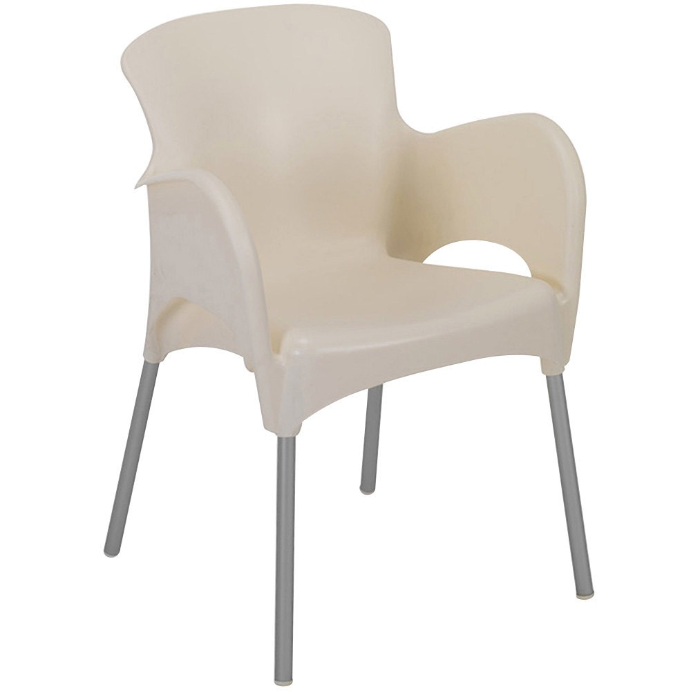 BFM Seating SA21471CR Lola Outdoor / Indoor Stackable Resin Arm Chair - Cream