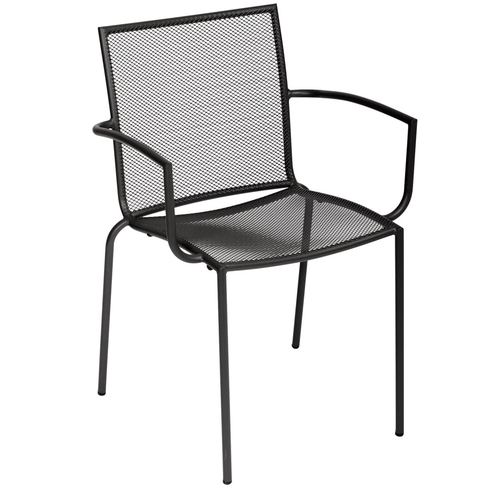 Bfm seating dv548a abri outdoor stackable mesh arm chair for Mesh patio chairs