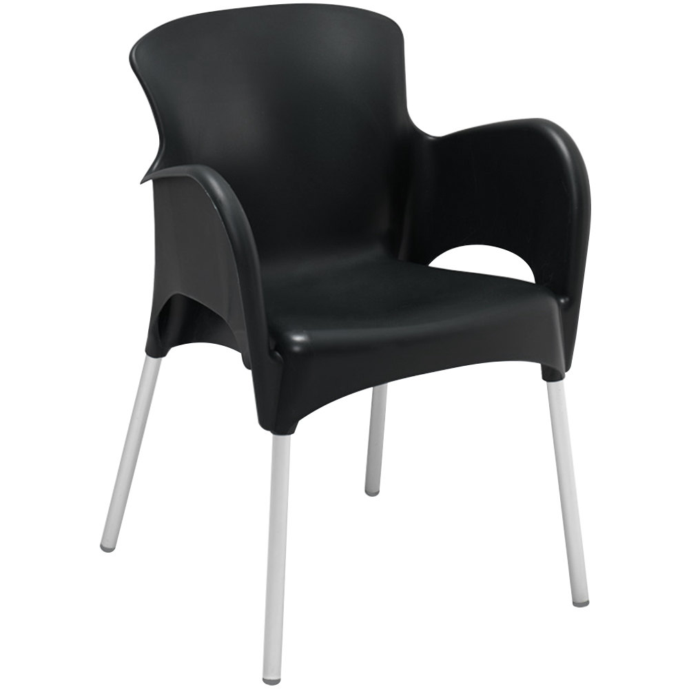 BFM Seating SA21475BL Lola Outdoor / Indoor Stackable Resin Arm Chair - Black