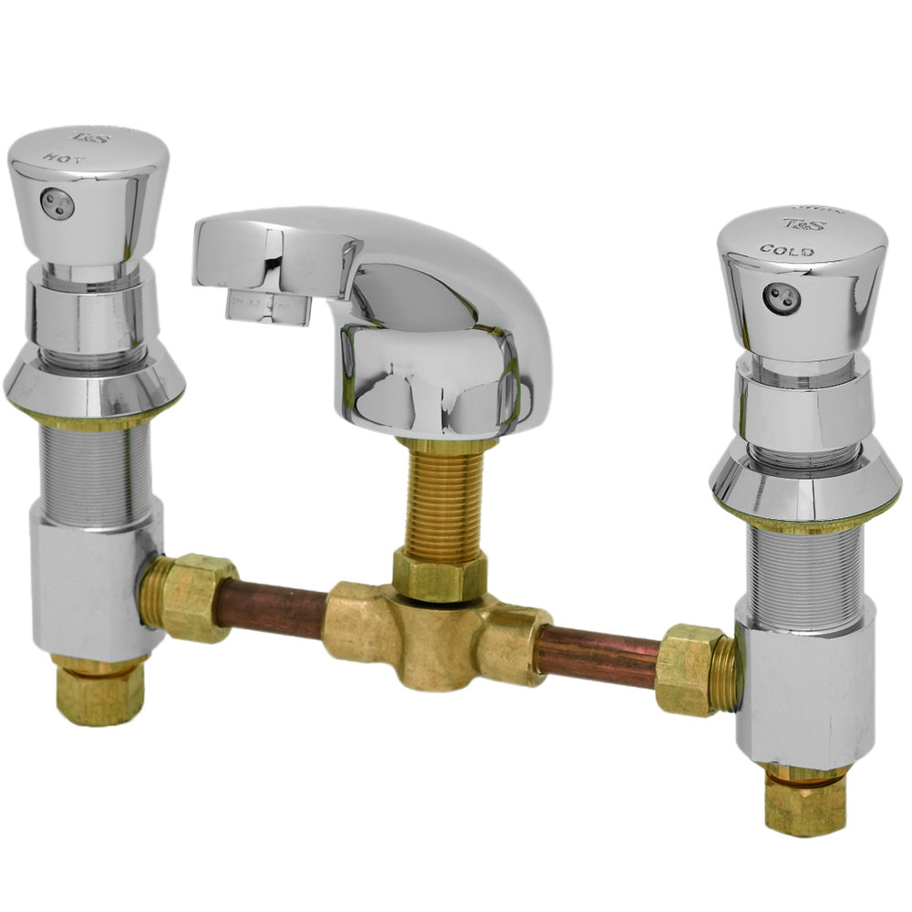 "T&S B-2483 Vandal Resistant Deck Mount Slow Self-Closing Metering Faucet with 6"" - 24"" Adjustable Centers and Push Button Caps"
