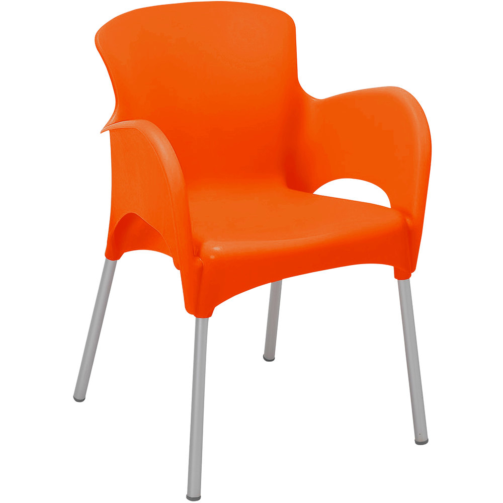 BFM Seating SA21476OR Lola Outdoor / Indoor Stackable Resin Arm Chair - Orange