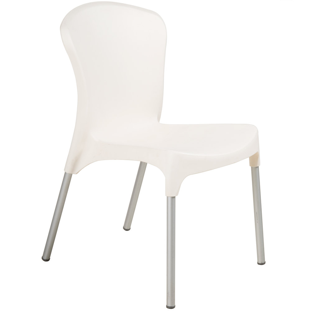 BFM Seating SA21519CR Lola Outdoor / Indoor Stackable Resin Side Chair - Cream