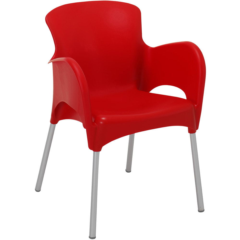 BFM Seating SA21479RD Lola Outdoor / Indoor Stackable Resin Arm Chair - Red