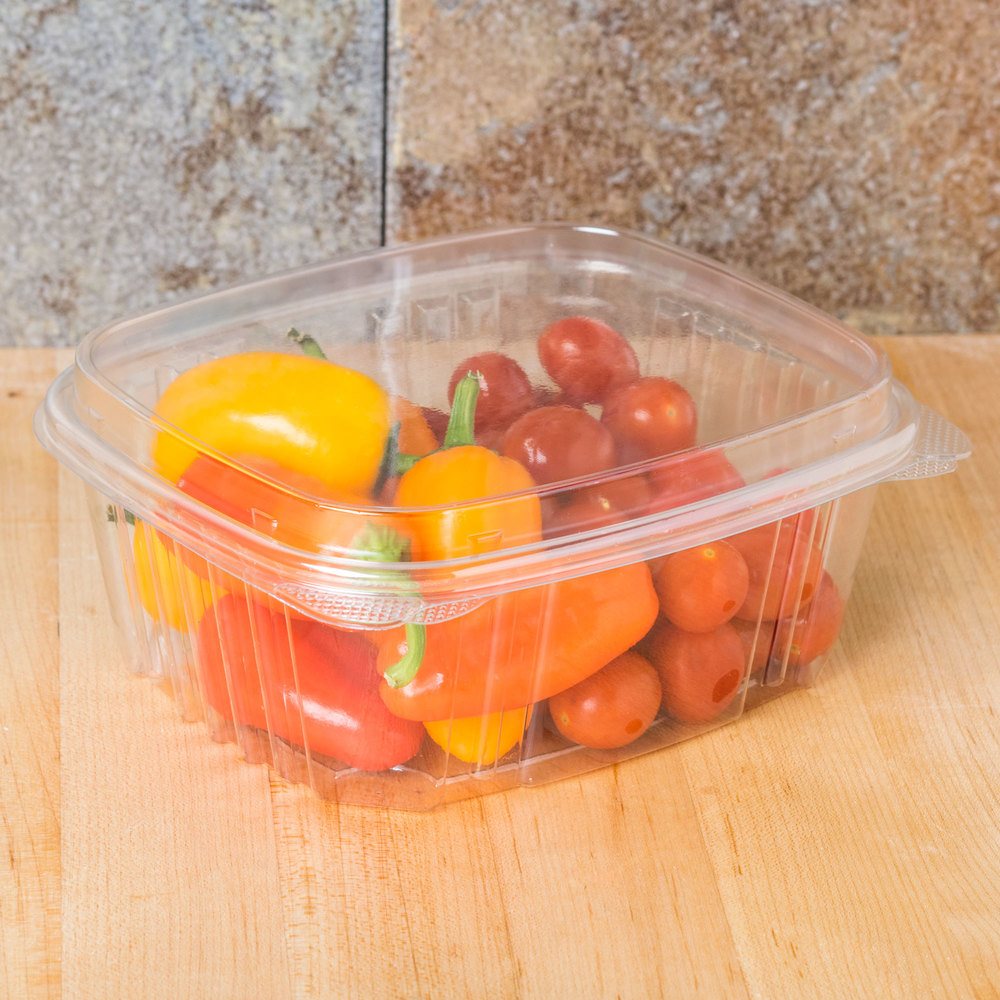 "Genpak AD32F 7 1/4"" x 6 3/8"" x 3"" 32 oz. Clear Hinged Deli Container with High Dome Lid - 100/Pack"