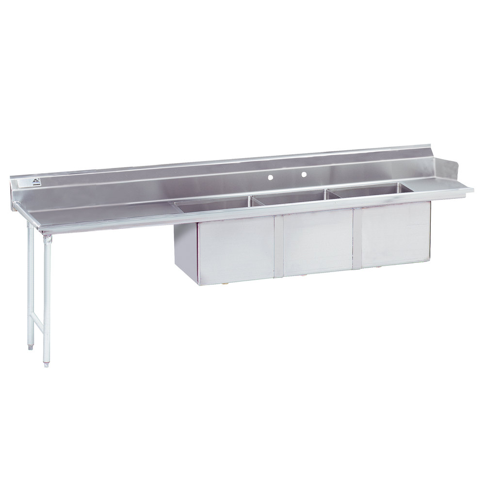 "Advance Tabco DTC-3-2020-108 9' Stainless Steel Soil Straight Dishtable with 3-Compartment Sink - 20"" x 20"" Bowls"