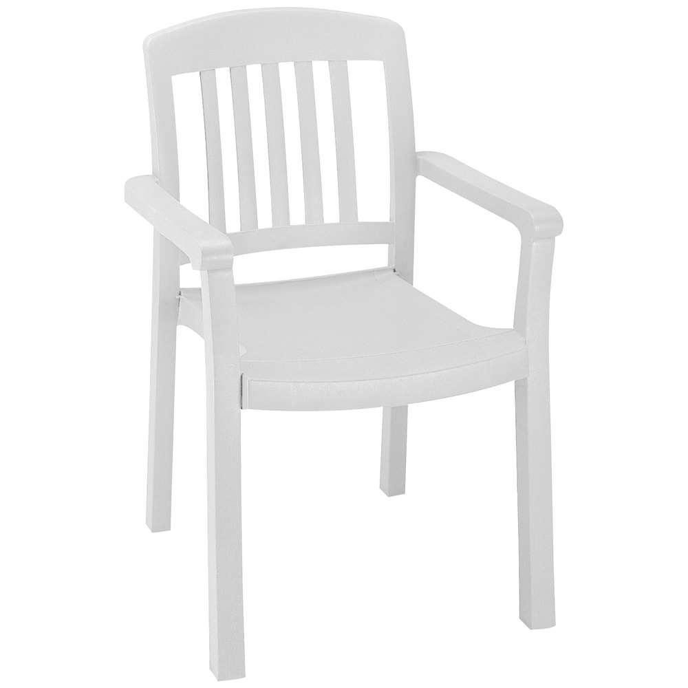 Grosfillex 49442004 / US442004 Atlantic White Classic Stacking Resin Armchair