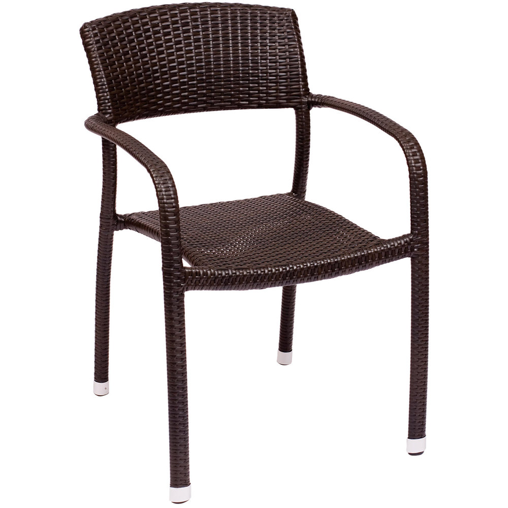 BFM Seating PH511CJV Regis Java Stackable Outdoor Indoor Synthetic Wicker A