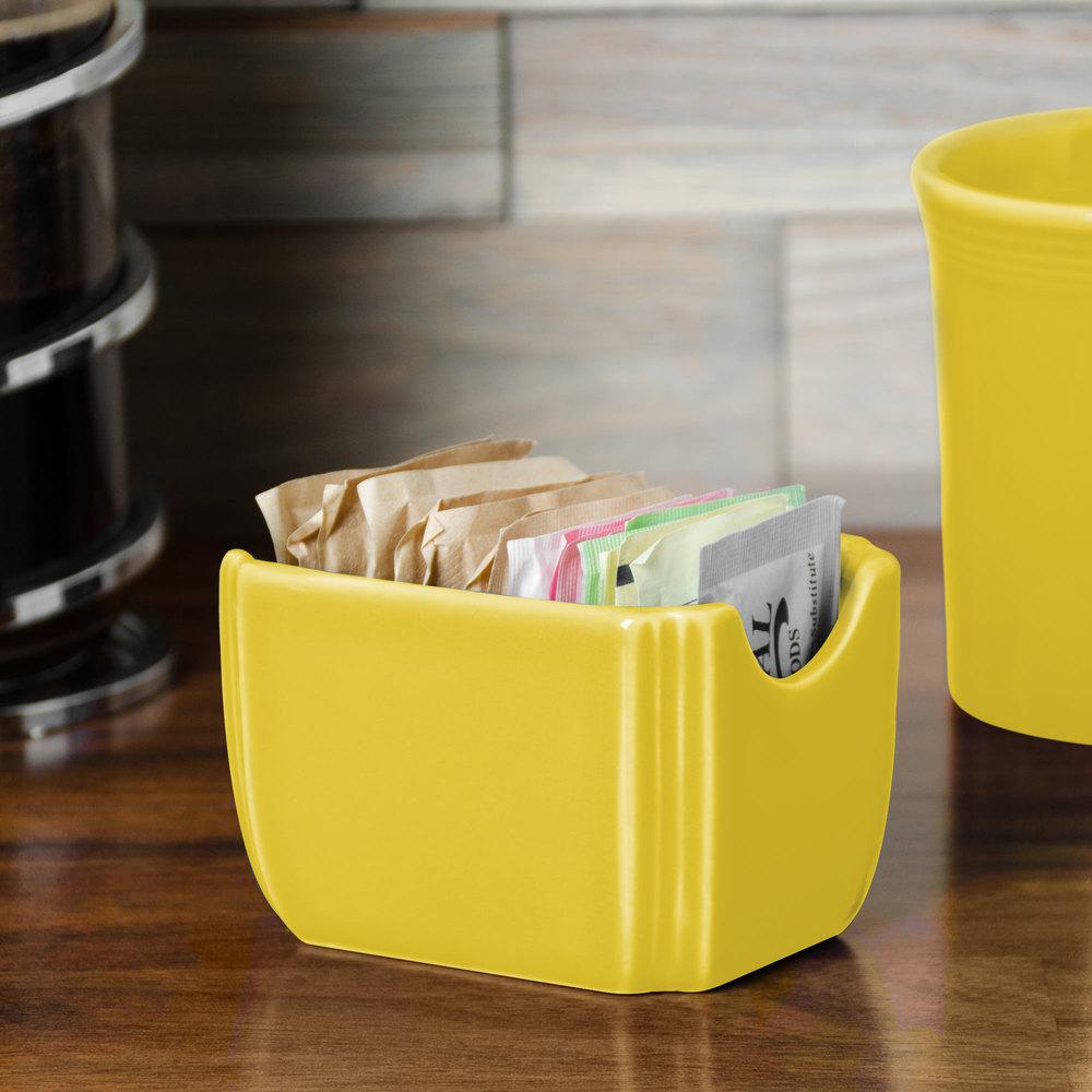"Homer Laughlin 479320 Fiesta Sunflower 3 1/2"" x 2 3/8"" Sugar Caddy - 12 / Case"