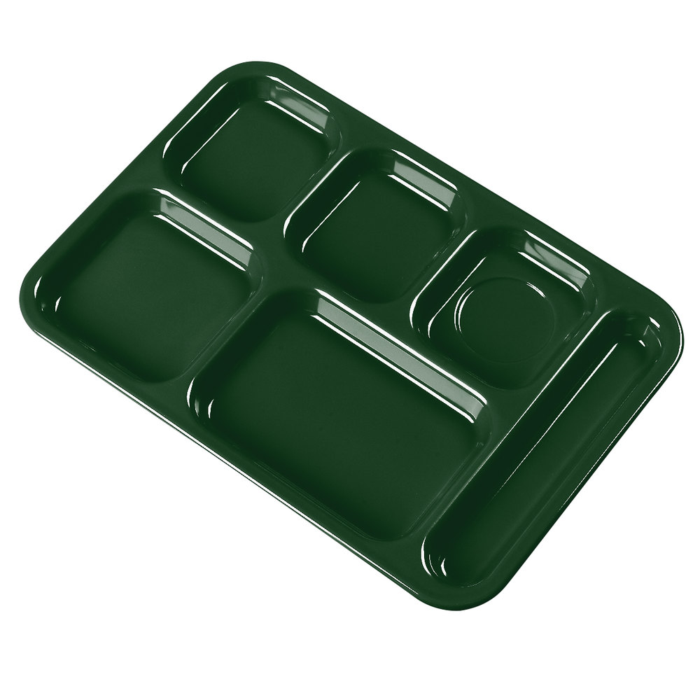 "Carlisle 4398808 Forest Green 10"" x 14"" Heavy Weight Melamine Right Hand 6 Compartment Tray"