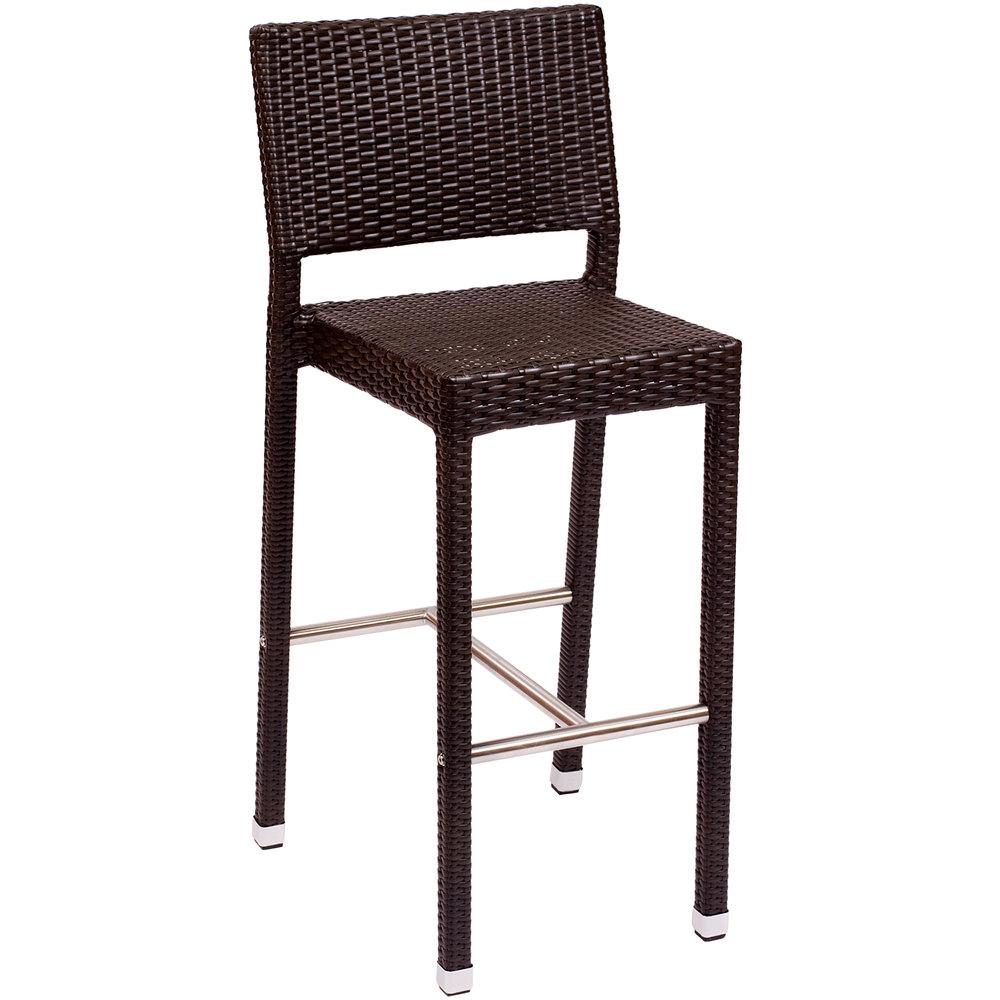 BFM Seating PH500BJV Monterey Outdoor / Indoor Java Synthetic Wicker Bar  Height Chair