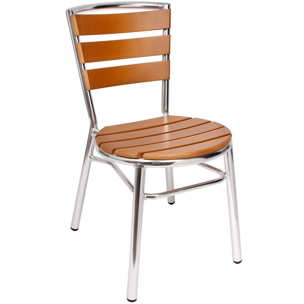 BFM Seating MS3084STKAL Norden Outdoor / Indoor Stackable Aluminum and Synthetic Teak Side Chair
