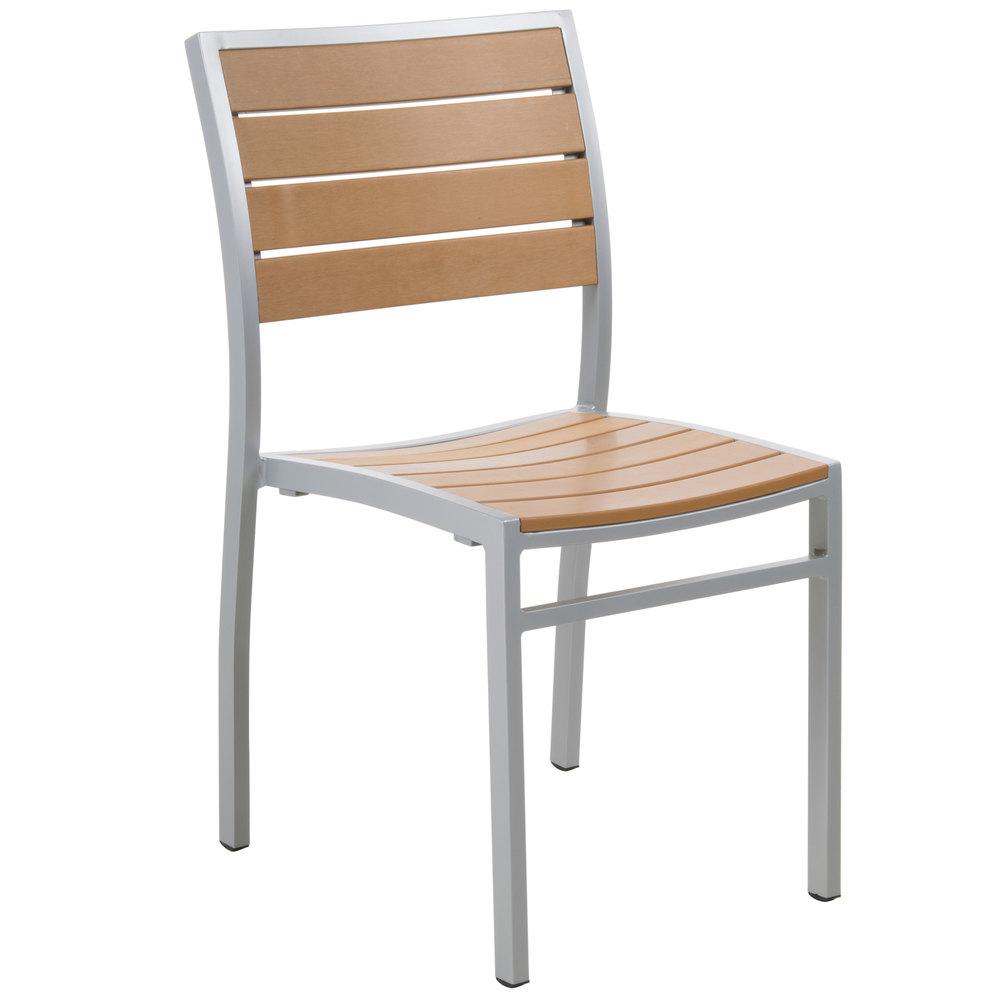Seating PH102CTKSV Largo Outdoor Indoor Stackable Synthetic Teak