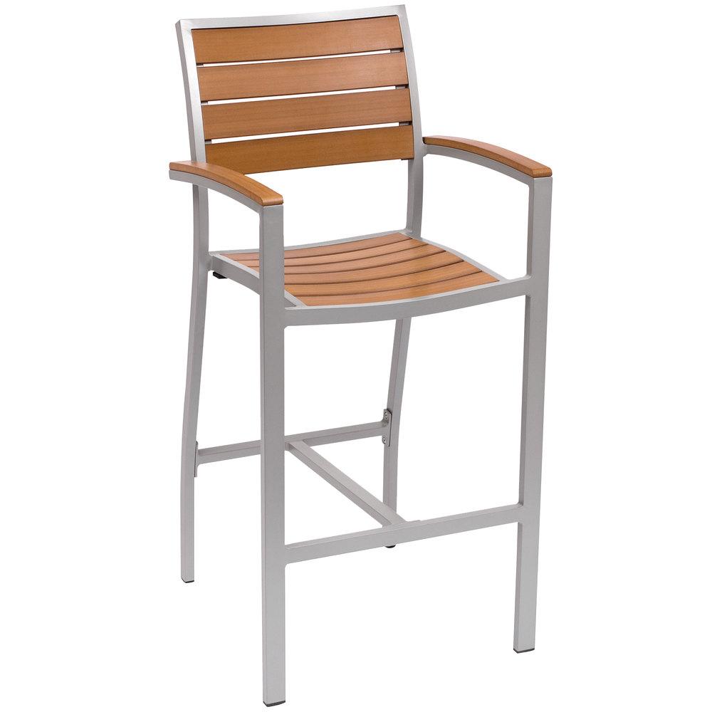 BFM Seating PH101BTKSV Largo Outdoor Indoor Synthetic Teak Silver Bar Heigh
