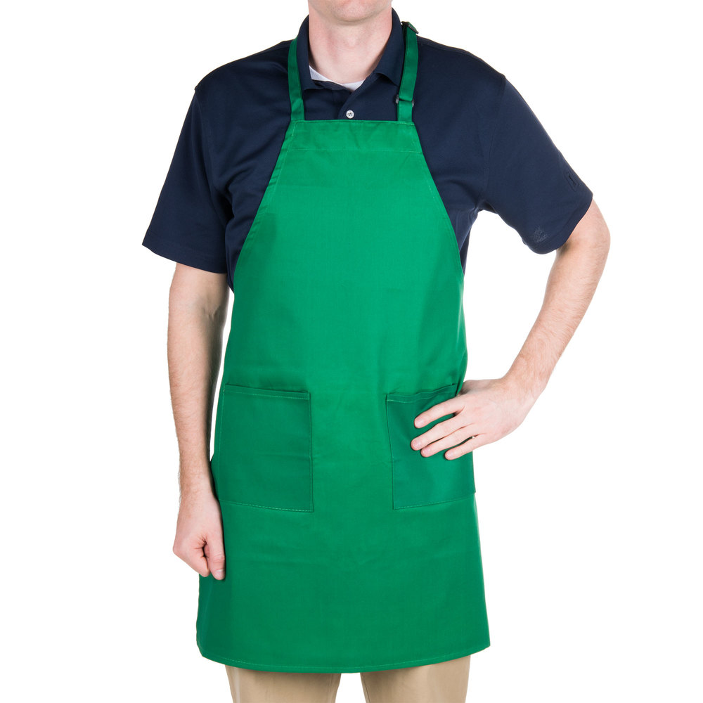 Choice Kelly Green Full Length Bib Apron with Adjustable