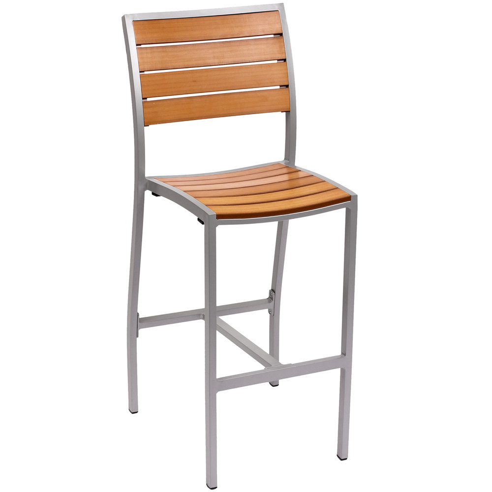 Silver chair furniture - Bfm Seating Ph102btksv Largo Outdoor Indoor Synthetic Teak Silver Bar Height Side Chair