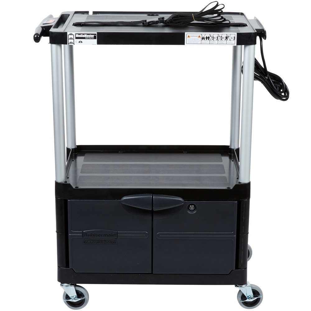 Rubbermaid fg9t3200bla black mediamaster 32 av cart with three main picture sciox Gallery