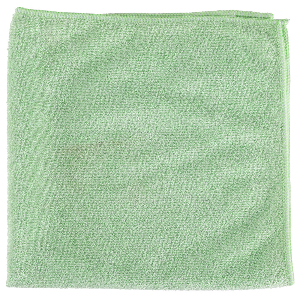 "Unger MB400 SmartColor MicroWipe 16"" x 16"" Green Medium-Duty Microfiber Cleaning Cloth"
