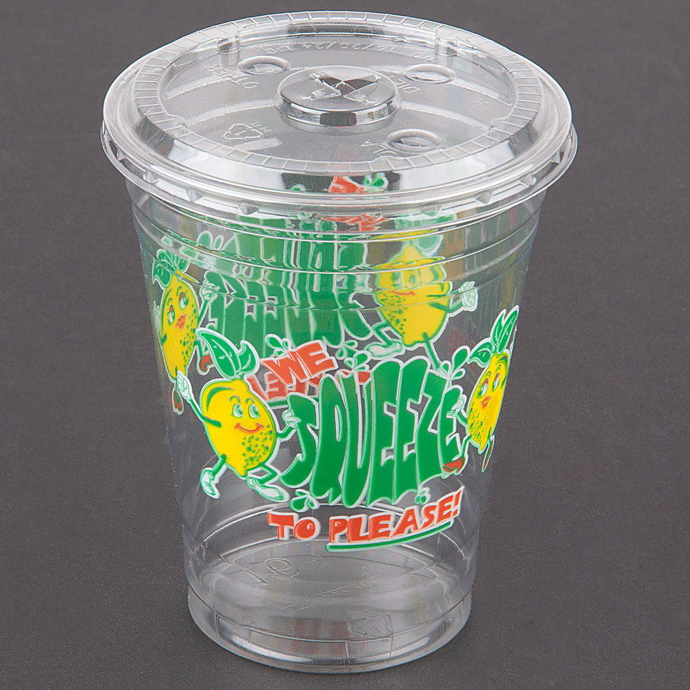"Lid for 16 oz. Plastic ""We Squeeze to Please!"" Lemonade Cup - 1000 / Case"