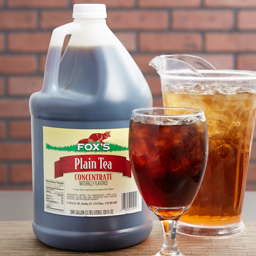 Fox's 1 Gallon Unsweetened Iced Tea Concentrate - 4/Case